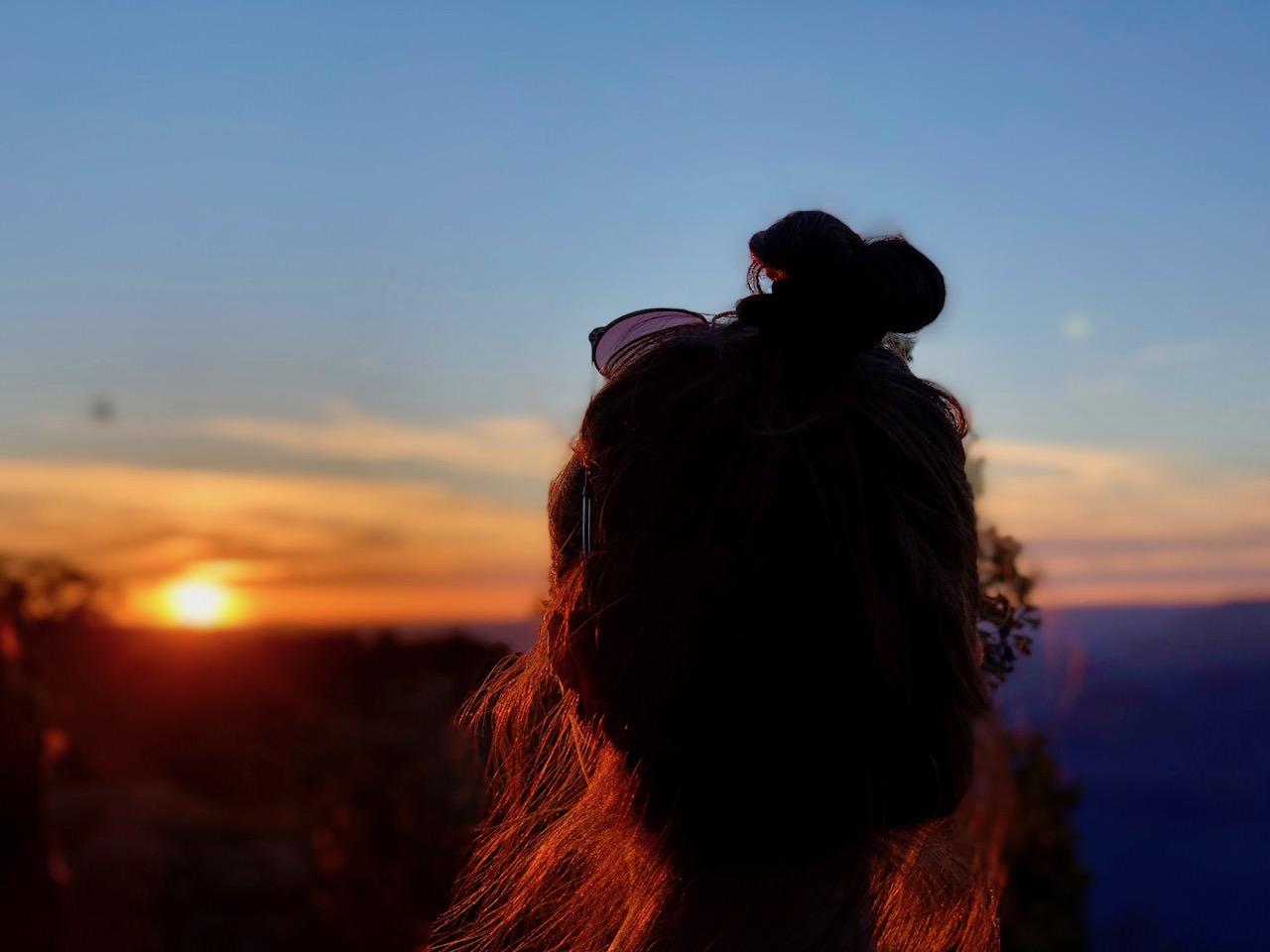 Grand Canyon South Rim Sunset portrait low sun
