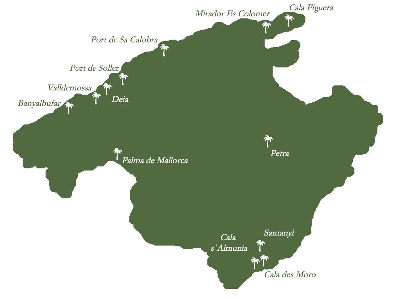 Mallorca Karte Route Highlights Selected Spots