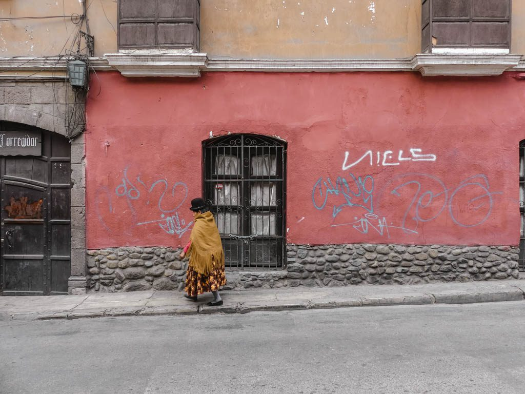 La Paz Bolivia traditional woman walking the streets